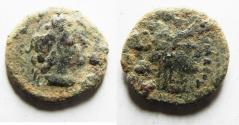 Ancient Coins - AS FOUND: PTOLEMAIC EMPIRE. CYRENE , PTOLEMY V AE 17 , WITH LIBYA ON REVERSE