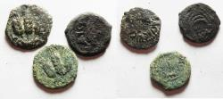 Ancient Coins - LOT OF 3 JUDAEAN AE PRUTOT.