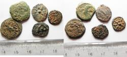 Ancient Coins - JUDAEA. LOT OF 5 AE PRUTAH COINS