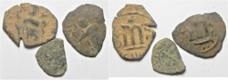 Ancient Coins - ARAB-BYZANTINE AE FILS. LOT OF 3 AE FILS COINS INCL. 1 EUROPEAN? SILVER