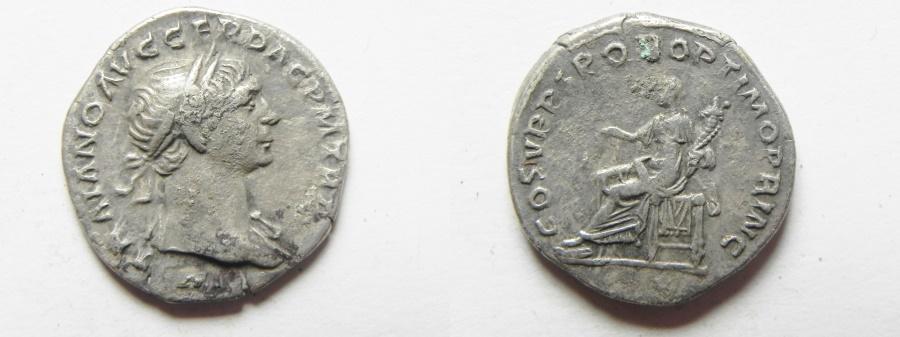 Ancient Coins - TRAJAN SILVER DENARIUS, NICE QUALITY