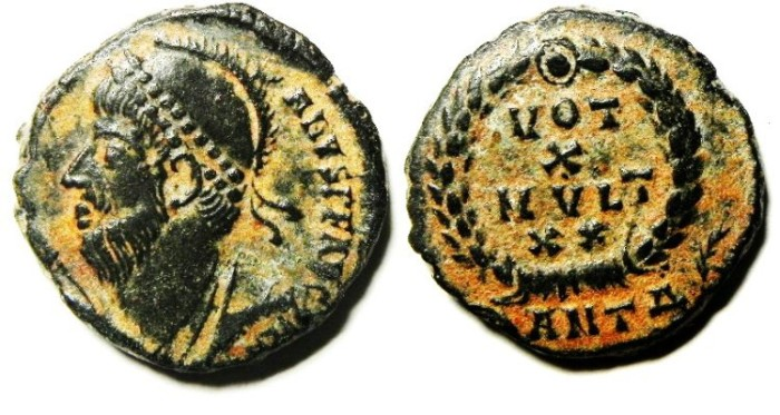 Ancient Coins - JULIAN II , VERY NICE AE 3 , ORIGINAL PATINA