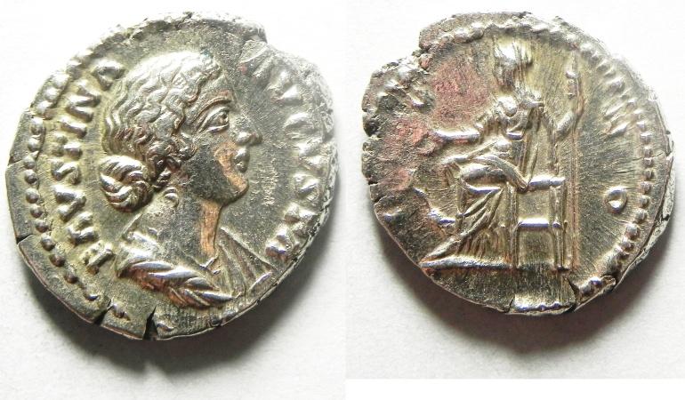 Ancient Coins - FAUSTINA JUNIOR SILVER DENARIUS