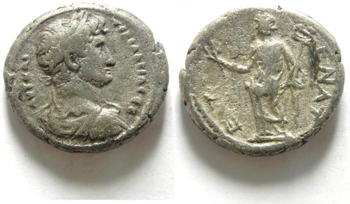 Ancient Coins - EGYPT , ALEXANDRIA , HADRIAN AR TETRADRACHM , NICE QUALITY , HAMONOIA