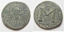 BYZANTINE.  Justin I (AD 518-527). AE follis (32mm, 12.18g). Contemporary imitation of a Constantinople mint issue, fifth officina.