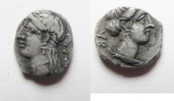 Ancient Coins - Unrecorded triobol: GREEK. Cyprus. Kings of Salamis. Pnytagoras (c. 351/0-332/1 BC). AR triobol (?) (11mm, 1.34g).