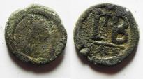 Ancient Coins - BYZANTINE. Justinian I, AE-12 Nummia. Alexandria.