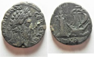 Ancient Coins - NICE EXAMPLE. PHAROS OF ALEXANDRIA: Egypt. Alexandria under Commodus (AD 177-192). Billon tetradrachm (24mm, 11.99g).
