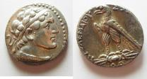 Ancient Coins -  Ptolemy V Epiphanes. 204-180 BC. AR tetradrachm (26mm, 14.20g). Uncertain Cypriot or Phoenician mint. Struck in era year 79 (184/3 BC).