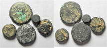 LOT OF 5 ANCIENT COINS INCLUDING A WEIGHT