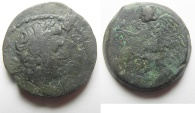 Ancient Coins - Egypt. Alexandria under Augustus (27 BC-AD 14). AE diobol (23mm, 8.85g). Struck in regnal year 42 (AD 11/12).