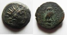 Ancient Coins - Seleukid Kings, Kleopatra Thea & Antiochos VIII (125-121 BC). Æ 19. OWL