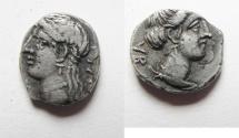 Ancient Coins - Unrecorded triobol: GREEK. Cyprus. Kings of Salamis. Pnytagoras (c. 351/0-332/1 BC). AR triobol (?) (11mm, 1.34g).