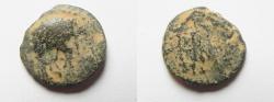 Ancient Coins - Judaea. Herodian dynasty. Herod Philip with Augustus. 4 BCE-34 CE. AE 18mm, 3.05gm. Caesarea Panias