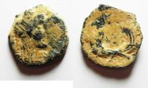 Ancient Coins - ORIGINAL DESERT PATINA: NABATAEAN KINGDOM. RABBEL II & GAMILAT AE 15