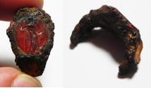 Ancient Coins - ANCIENT ROMAN CARNELIAN INTAGLIO WITH ZEUS. 100 - 200 A.D