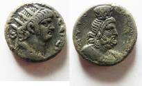 Ancient Coins - LOVELY PORTRAIT: EGYPT, Alexandria. Nero. AD 54-68. BI Tetradrachm. SERAPIS