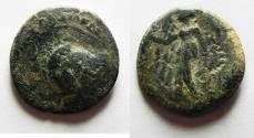 Ancient Coins - OVERSTRUCK ON A PTOLEMY COIN: NABATAEAN KINGDOM. ARETAS II/III AE 20. 103-96 BC.