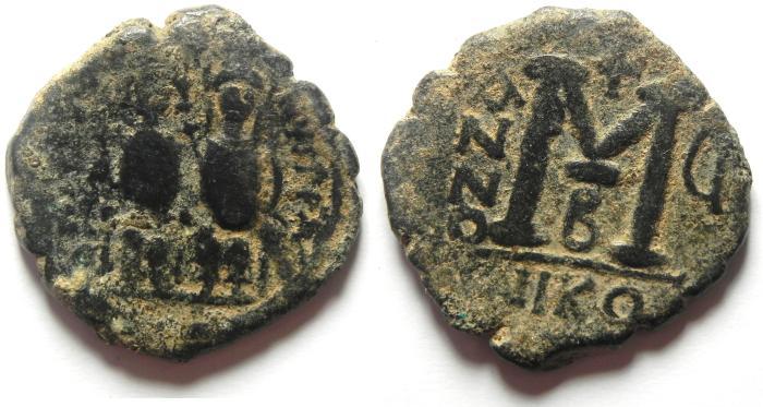 Ancient Coins - BYZANTINE - JUSTIN II & SOFIA AE FOLLIS