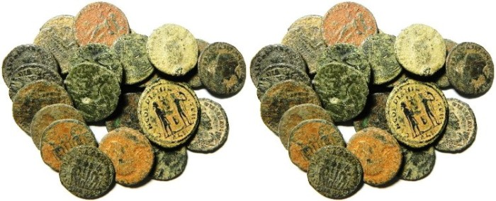 Ancient Coins - LOT OF 24 ROMAN BRONZE COINS, AS FOUND