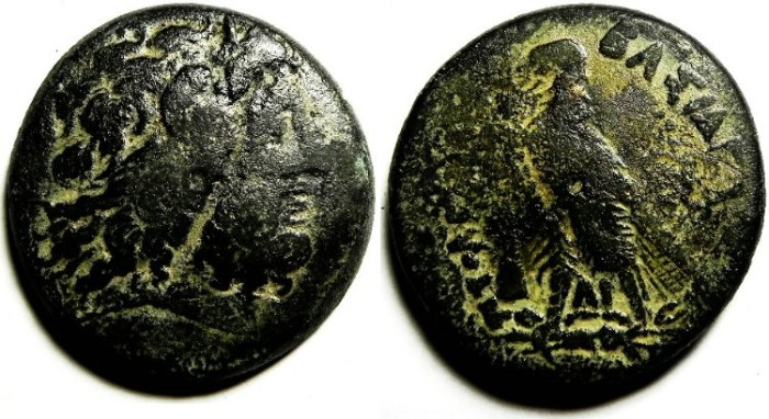 Ancient Coins - PTOLEMAIC KINGDOM , PTOLEMY IV AE 34