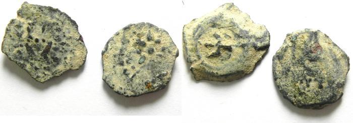 Ancient Coins - Alexander Jannaeus , JUDAEA , LOT OF 2 AE PRUTOT - WIDOW'S MITE