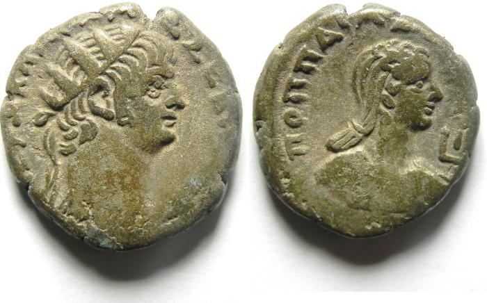 Ancient Coins -  ROMAN EGYPT, Alexandria. Nero, with Poppaea
