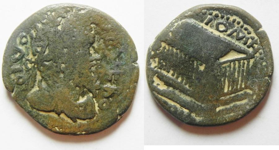 Ancient Coins - Coele Syria. Heliopolis under Caracalla (AD 198-217). AE 28mm, 10.80g. Commemorative issue honoring Divus Septimius Severus