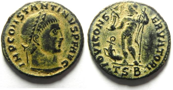 Ancient Coins - BEAUTIFULL CONSTANTINE I AE FOLLIS, DESERT PATINA