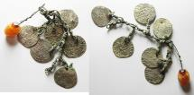 Ancient Coins - MEDIEVAL Bronze chain segment with six suspended silver grossi of Venice and agate pendant. 15th century. 14mm, 17.12g.