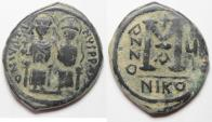 Ancient Coins - BEAUTIFUL BYZANTINE AE FOLLIS. JUSTIN II & SOPHIA