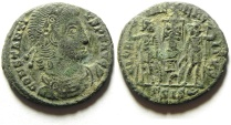Ancient Coins - CONSTANTIUS II AE 4 , CHRISTIAN STANDARDS , CHI RHO