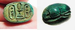 Ancient Coins - ANCIENT EGYPT, NEW KINGDOM. GLAZED STEATITE SCARAB. 1400 B.C. DOUBLE CARTOUCH OF THOTMOSES III - RARE OPEN WORK IN THE MIDDLE.