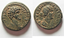 Ancient Coins - Very Attractive: Judaea. Aelia Capitolina under Lucius Verus, with Faustina II (AD 161-169). AE 25mm, 14.30g.
