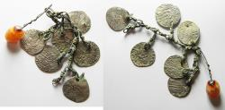 World Coins - MEDIEVAL Bronze chain segment with six suspended silver grossi of Venice and agate pendant. 15th century. 14mm, 17.12g.