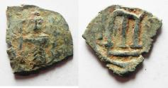Ancient Coins - ARAB-BYZANTINE  IMITATION OF CONSTANS II BYZANTINE AE FOLLIS