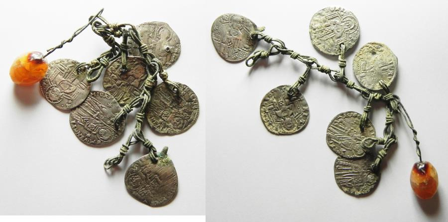 medieval bronze chain segment with six suspended silver grossi of venice and agate pendant 15th