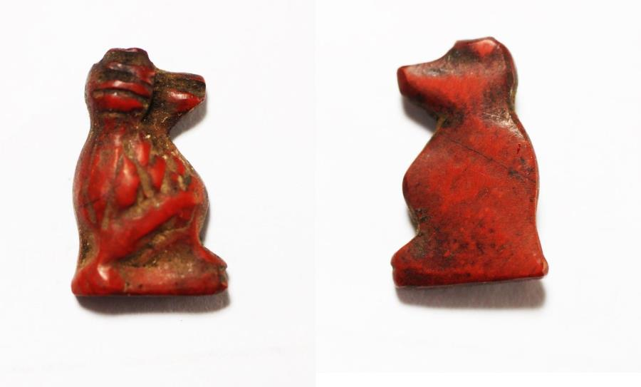 Ancient Coins - ANCIENT EGYPT. RED JASPER THOTH AMULET. NEW KINGDOM. 1300 B.C