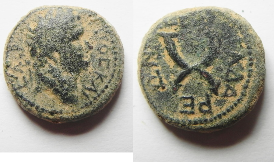 Ancient Coins - Decapolis Gadara Titus 79-81 A.D. AE18