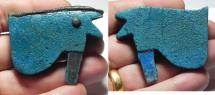 Ancient Coins - ANCIENT EGYPT , HUGE FAIENCE EYE OF HORUS AMULET. 600 - 300 B.C