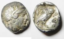 Ancient Coins - GREEK. Attica, Athens. AR Tetradrachm (17.16gm , 24mm). Struck c. 454-404 BC.