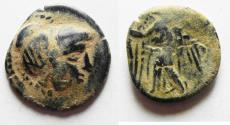 Ancient Coins - ORIGINAL DESERT PATINA: OVER-STRUCK ON A PTOLEMY COIN. NABATAEAN KINGDOM. ARETAS II/III AE 17