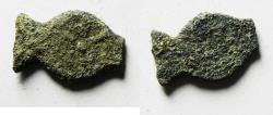 Ancient Coins - FISH SHAPED: Judaea. Alexander Jannaeus (103-76 BC) Æ Prutah (Widow's mite).