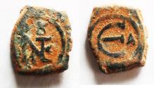 Ancient Coins - Justin II. 565-578. Æ Pentanummium . Theoupolis (Antioch) mint. Struck 569-578.
