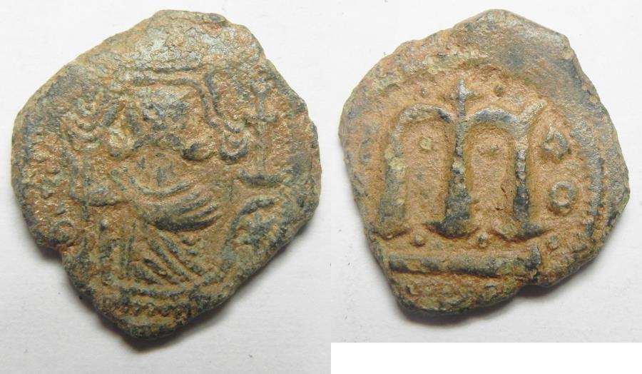 World Coins - ISLAMIC. Ummayad caliphate. Uncertain period (pre-reform). AH 41-77 / AD 661-697. Arab-Byzantine series. AE fals