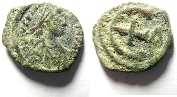 Ancient Coins - BYZANTINE , JUSTIN I AE PENTANUMMIUM, VERY NICE QUALITY