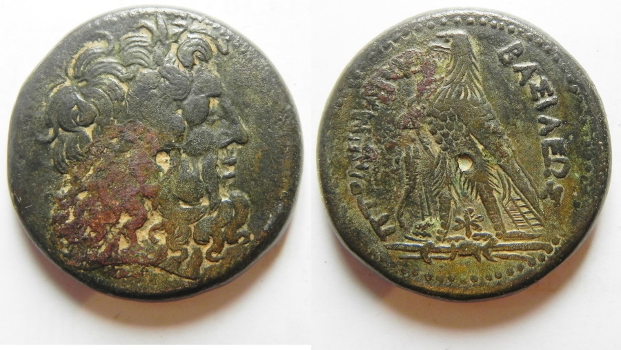 Ancient Coins - Ptolemaic Kingdom of Egypt. Ptolemy IV. Ae Hemidrachm with chi-rho symbol between eagle's legs, very attractive