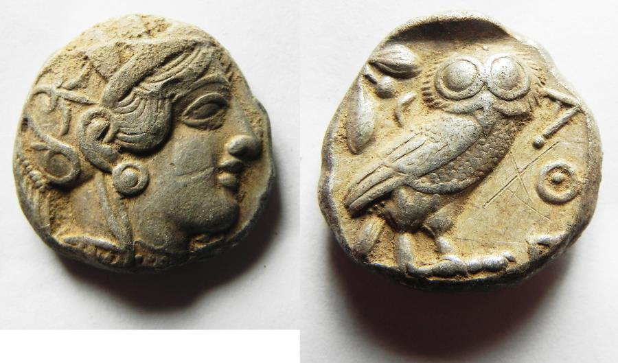 Ancient Coins - ATTICA, Athens. 440-404 BC. Silver Tetradrachm. 23mm . 17.09gm