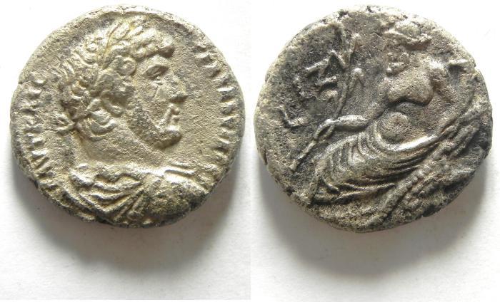 Ancient Coins - EGYPT , ALEXANDRIA , HADRIAN AR TETRADRACHM , NICE QUALITY , NILUS! YEAR 17