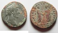 Ancient Coins - 	CHOICE QUALITY. NEEDS CLEANING: MARCUS AURELIUS SESTERTIUS